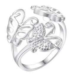 Silver Ring med 3 st Fjärilar / Butterfly - Justerbar Silver one size