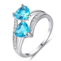 Silver Ring med Dubbla Hjärtan & Turkos CZ Kristall - Stl 18,9 Turkos
