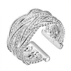 Silver Ring / Silverring med Flätad Design - Justerbar Silver one size
