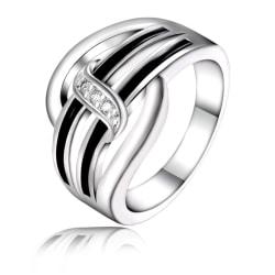 Silver Ring - Svarta Inslag & Vita CZ Kristaller - Stl 18,2 Silver