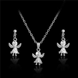 Silver Smyckesset - Halsband & Örhängen -Ängel & Vit CZ Kristall Silver