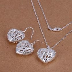 Silver Smyckesset - Halsband & Örhängen - Hjärta i Fint Mönster  Silver