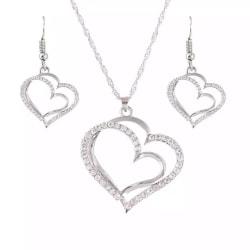 Silver Smyckesset - Halsband & Örhängen - Hjärtan & Kristaller Silver