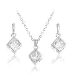 Silver Smyckesset - Halsband & Örhängen - Kub/Fyrkant & Kristall Silver