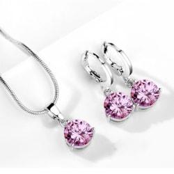 Silver Smyckesset - Halsband & Örhängen -  Rosa CZ Kristall Rosa