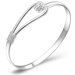 Stelt Silver Armband / Bangle med Lyxig Blomma / Ros Silver