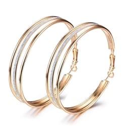 Stora Guld Hoop Örhängen - Big Circle & Silver Frostade /Glitter Gold