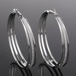 Stora Silver Hoop Örhängen -Big Circle & Silver Frostade/Glitter Silver