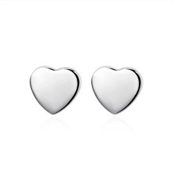 Stud Silver Örhängen - Blanka Hjärtan / Heart Silver