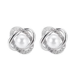 Stud Silver Örhängen med Vit CZ Kristall & Pärla / Pärlörhängen Silver