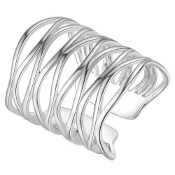 Trendig Oversize Silver Ring i Fint Mönster - Justerbar Silver one size