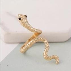 Unik Guld Ring med Mönstrad Orm med Svarta Ögon - Justerbar Guld one size