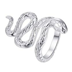 Unik Silver Ring med en fint Mönstrad Orm / Snake - Justerbar Silver one size