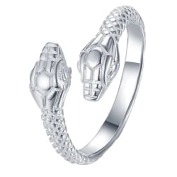 Unik Silver Ring med fint Mönstrad Orm / Snake - Justerbar Silver one size