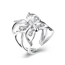 Unik Silver Ring med Fjäril & Vita CZ Kristaller - Justerbar Silver one size