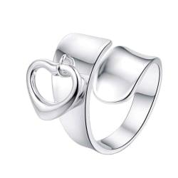 Vacker Silver Ring med Hängande Hjärta / Heart - Justerbar Silver one size