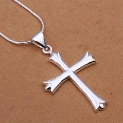 Vackert Silver Halsband - Enkelt Kors med Fint Mönster Silver