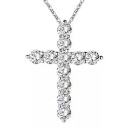 Vackert Silver Halsband - Kors fyllt med Vita CZ Kristaller Silver