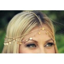 Vintage Hårsmycke / Boho Hår Smycke med Dekorerade Guld Kedjor Guld