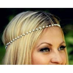 Vintage Hårsmycke / Boho Hår Smycke med Guld Kedja & Vita Pärlor Guld