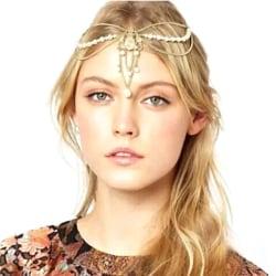 Vintage Hårsmycke / Hår Smycke med Guld Kedjor & Vita Pärlor Guld