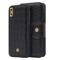 iPhone X/Xs Marvêlle Magnetiskt Skal & Plånbok Svart Krokodil Black