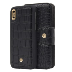 iPhone X/Xs Marvêlle Magnetiskt Skal & Plånbok Svart Krokodil Svart