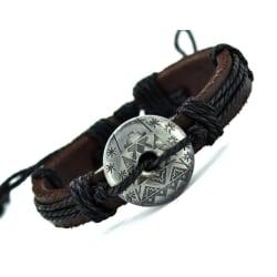 Herrarmband äkta läder handgjord.   Inka Svart