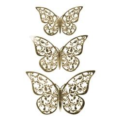 12st 3D Fjärilar i Metall, Väggdekoration - Guldblad Guld