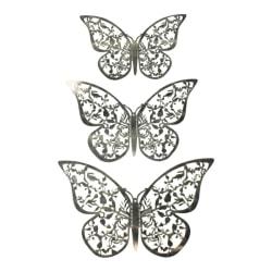 12st 3D Fjärilar i Metall, Väggdekoration - Silverblad Silver