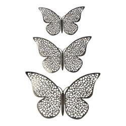 12st 3D Fjärilar i Metall, Väggdekoration - Silvernät Silver