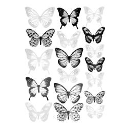 18x 3D Dekorationsfjärilar - Svartvit multifärg