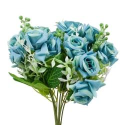 2- pack Blomsterbukett i plast, Rosor - Blå Blå