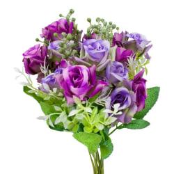 2- pack Blomsterbukett i plast, Rosor - Lila Lila