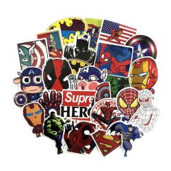 50x Klistermärken, Superhjältar #1 multifärg