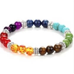 7 Chakra Lava Stone Diffuser Bracelet multifärg