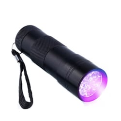 9x UV LED - Smidig & Liten UV Ficklampa Svart