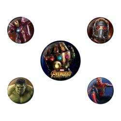 Avengers Infinity War, 5x Pins multifärg