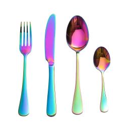 Bestickset i Rostfritt Stål, 4 delar - Regnbåge multifärg