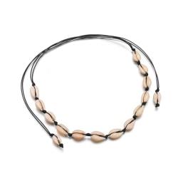 Choker Halsband med vita Snäckor - Svart Svart
