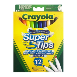 Crayola, 12x Tuschpennor - Super Tips multifärg
