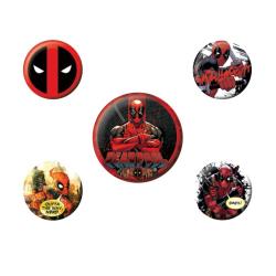 Deadpool, 5x Pins multifärg