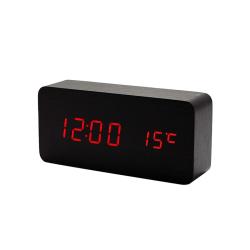 Digital LED Väckarklocka i Trädesign - Svart / Röd Svart