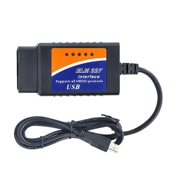 ELM327 / ELM 327 / OBD2 USB Bildiagnostik Felkodsläsare Svart