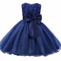 Festklänning med Rosett och Blommor - Blå (130) Blue 128