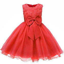 Festklänning med Rosett och Blommor - Röd (150) Red 152