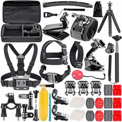 GoPro kit med 45 delar + Väska Svart