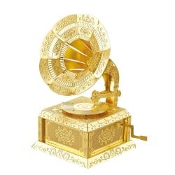 Grammofon, 3D Modell Byggsats i Metall - Guld Phonograph
