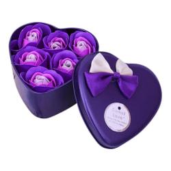 Hjärtformad ask med rosor Lila