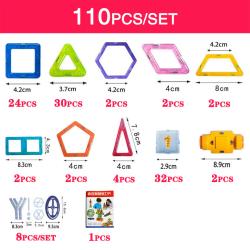 Magnetiska Byggdelar - Perfekt present för barn (110 st) multifärg